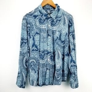 LRL Paisley Floral Roll-up Shirt